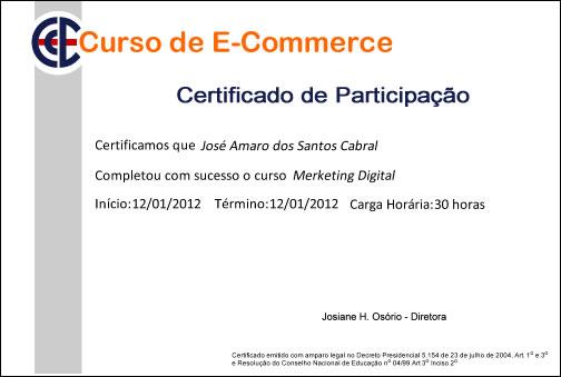 Certificado de participação de nossos cursos presenciais e online